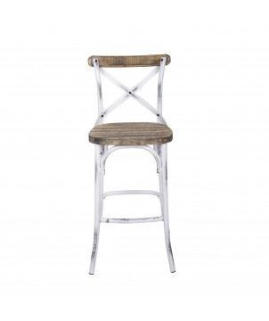 Barhocker CROSS WHITE, Shabby Landhausstil weiß