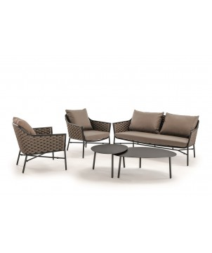 Outdoor Lounge Set PANAMA, Seilgeflecht & Textilene
